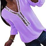 Kuncg Bluse Damen Elegant Damenblusen Langarm mit Paillette Einfarbig Tops Shirts Hemd V-Ausschnitt Blusenshirt Langarmshirt Oberteile (Violett,CN 2XL)