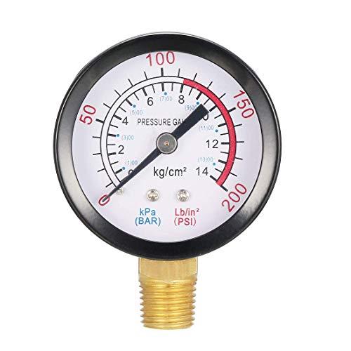 ZCHXD Bottom Mount Pressure Gauge, 0-200 psi/kPa Dual Scale, 1-25/32