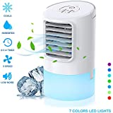 Nobebird Air Cooler with Water Cooling Mobile Air Conditioning Device Quiet Portable Table Fan with Time-Controlled Function / Humidifier Air Purifier / Three Wind Strengths / 7 Colour Lights