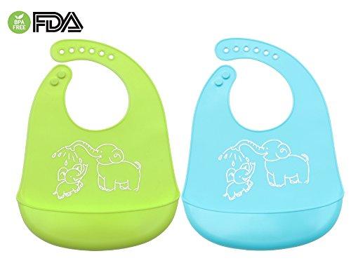 Pack de 2 Baberos de Silicona Bebés Niños Impermeable Para 0-6 años Infantiles Cómodo,Con Grande Bolsillo para Recoger Comida Evitan manchas Facíl Limpiar (Azul/Verde)