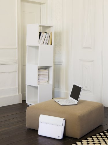 Temahome shell libreria girevole, legno, bianco opaco, 40x40x21 cm