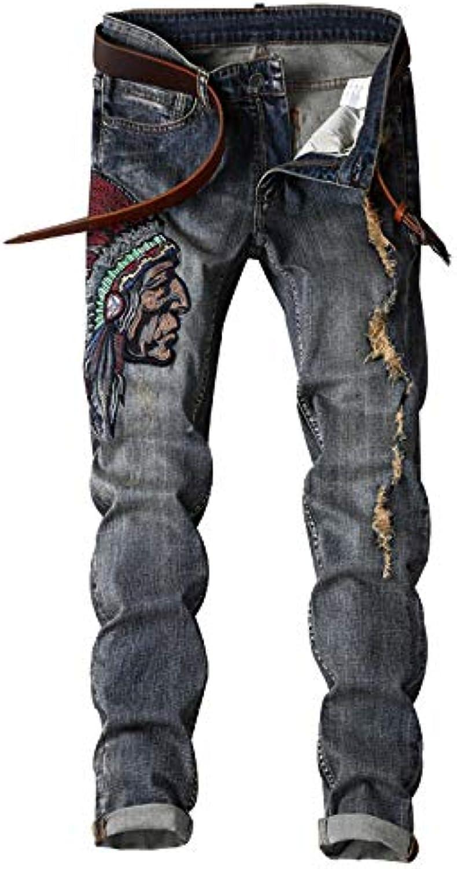 YRHDC Jeans Dritti da Uomo con Dritto Foro Dritto con per Il Tempo Libero  Pantaloni Skinny 438d3d2f13b