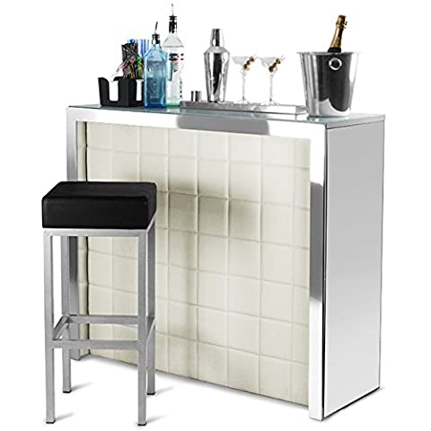 Hollywood Home Bar Counter with Cream Faux Leather Front, Mirror Panels - Cocktail Bar and Wine Rack