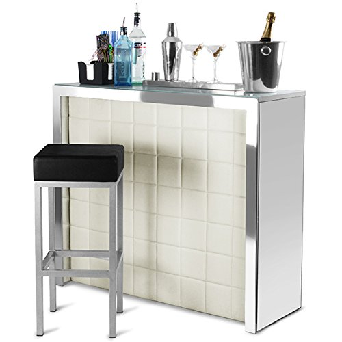 Hollywood Home Bar Counter With Cream Faux Leather Front Mirror Panels Cocktail Bar And Wine