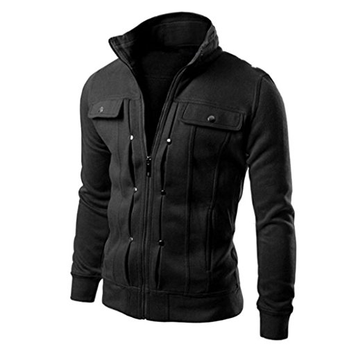 SUCES Herren Klassisch Baumwolle Jacken Freizeit Übergangs Bomber Jacke Mäntel Draussen Windbreaker Übergangsjacke mit Kapuze aus robustem Mantel Coat TOP Mode Schlank Entworfen (Black, 3XL) Mantel Top Coat