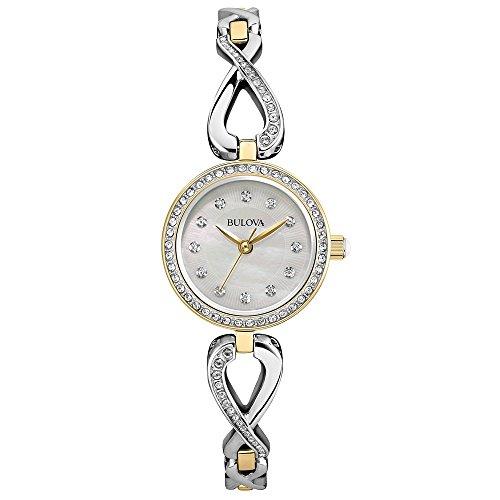 bulova-damen-armbanduhr-analog-quarz-kristall-silberfarbenes-zifferblatt-gold-silberfarbenes-armband