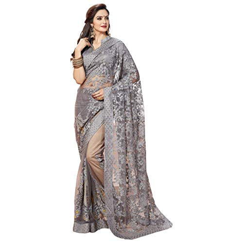 Glamify Women\'s Net Embroidered Saree With Blouse Piece (Grey_Free Size)