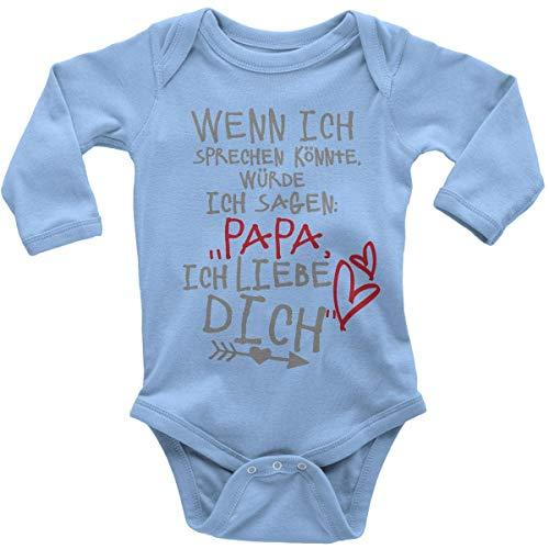 Mikalino Babybody mit Spruch für Jungen Mädchen Unisex Langarm Wenn ich sprechen könnte würde ich Sagen: Papa ich Liebe Dich   handbedruckt in Deutschland  , Farbe:Sky, Grösse:68 (Kostüm Liebe Kind Der)