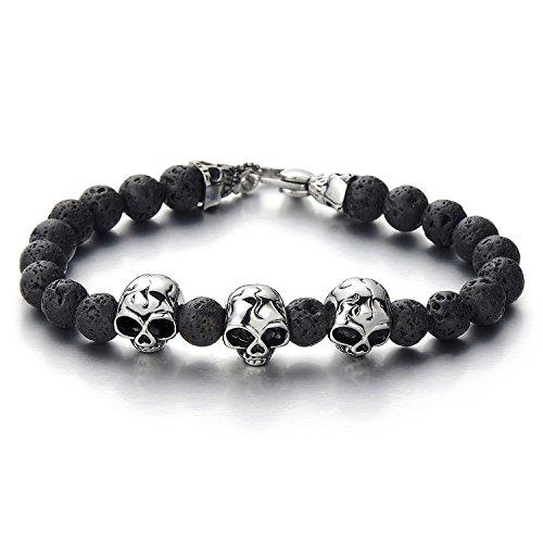 Schwarz Herren Armband aus Perlen mit Schädel aus Edelstahl Biker Armband mit Vulkan Vulkanisch Stein (Und Schädel-perlen Charms)