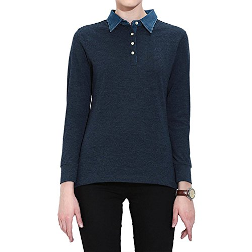 CHKOKKO Plain Cotton Polo Neck Full Sleeves T Shirt for Women