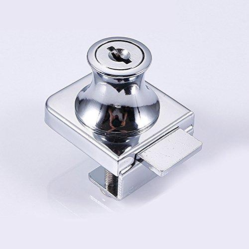41UNdaNC0qL - Acutty aleación de Zinc Cerradura Cristal Vitrina Ventana de candados para 5-8mm Puerta de Cristal sin Broca con 2Llaves