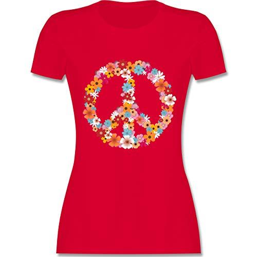 Statement Shirts - Peace Flower Power - M - Rot - L191 - Damen Tshirt und Frauen T-Shirt - Verrückt Mens T-shirt