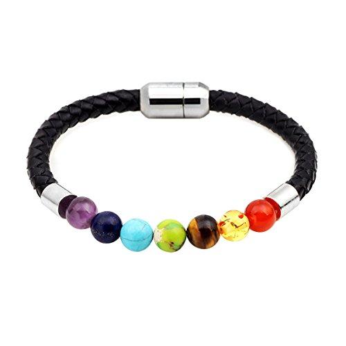 Braccialetto in pelle con chiusura magnetica con vera 7chakra pietra di cristallo perline mala guarigione bilanciamento yoga e lega, colore: 7 chakra, cod. hsueu033
