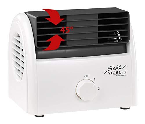Sichler Haushaltsgeräte Kleiner Ventilator leise: Leiser Mini-Tischventilator, Walzen-Technologie, 2 Stufen, bis 35 Watt (Walzenlüfter leise)