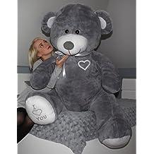 Osito grande de peluche cabeza grande juguete gigante suave blando 105+85cm (color: gris)