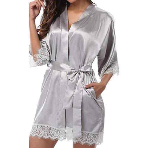 8916eb281 Mxssi Wedding Sexy Women's Robe Short Satin Bride Silk Lace Tunic Kimono