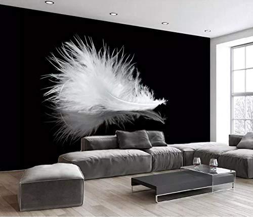 Strand Weiße Spiegel (Wanghan 3D Tapete Individuelle Tapeten Spiegel Schwarz Weiße Feder Tv Hintergrund Wohnzimmer Schlafzimmer Fototapete-250Cmx175Cm)
