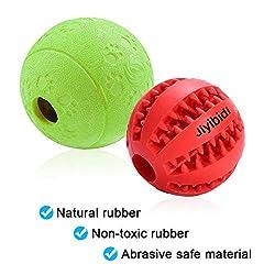 Jiyibid Hundespielzeug Ball, Ungiftiger Naturkautschuk Spielzeug Ball für Zahnreinigung/Kauen/Spielen/IQ-Training, 2er Pack - Rot & Grün
