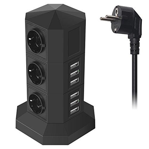 Ab 8 Steckdosen Überspannungsschutz (JZBRAIN USB Steckdosenleiste Überspannungsschutz mit 6 USB-Ports 6 Fach Einzeln Schaltbar Mehrfachsteckdose smartes und schnelles Aufladen, Steckdosenturm mit 2 m Verlängerungskabel (schwarz))