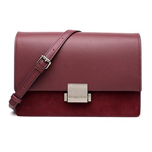 leder crossbody tasche für frauen mode umhängetasche kleine mit kupplung handtasche handy - taschen handtasche (Weinrot)
