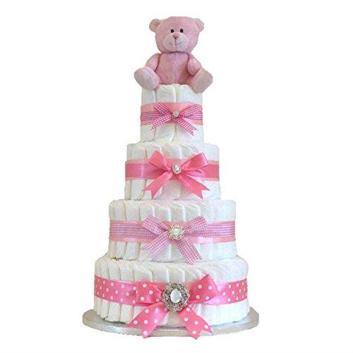 Signature Extra Large de luxe à quatre niveaux gâteau de couche Rose bébé/rose Panier de bébé/rose cadeau de Baby Shower/New arrivée Cadeau/cadeau pour bébé Gifl/cadeau unique pour bébé/envoi rapide