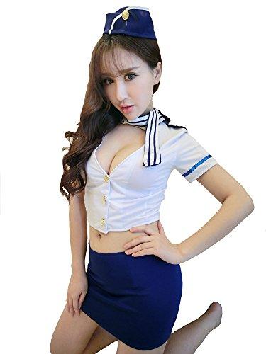Preisvergleich Produktbild Yinglite Damen Sexy Uniform Stewardess Flugbegleiterin Polizei Cop Polizistin Polizist Polizistinnen Lingerie Dessous Kostüm Erotisch Uniform Unterwäsche COSPLAY Spitze Reizwäsche Reizvolle Overall 2028 (Large)
