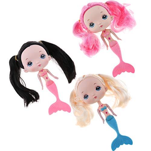 F Fityle 3er Kunststoff Meerjungfrau Mädchen Puppe Badespielzeug für Baden, mit großen Kopf, Wunderbare Handarbeit