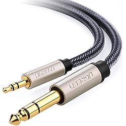 Ugreen 10625 1m 2 x 6.35mm 3.5mm Negro cable de audio - cables de audio (2 x 6.35mm, Macho, 3.5mm, Macho, 1 m, Negro)