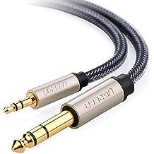Cable de audio estéreo 3.5mm a 6.35mm, UGREEN 1 Metro Cable HiFi audio Macho a Macho con trenza de Nylon para iPad, iPhone, iPod, reproductores de MP3, ordenadores portátiles, PCs, teléfonos celulares, tabletas, cine en casa, altavoces
