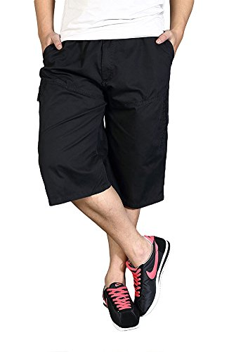 DQQ-Mens-Elastic-Waist-Loose-Fit-34-Cargo-Shorts-2XL-Black