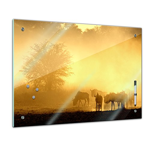 Memoboard 80 x 60 cm, Tiere - Gnuherde im Morgenlicht - Memotafel Pinnwand - Sonne - Tiermotive - Tierbild - Tier - Gnu - Antilope - Afrika - Herde - Savanne - Küche - Glasbild - Handmade