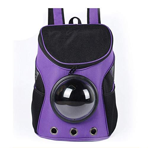 WSGJHB Hunderucksack Träger Airline Approved Pet Carrier Atmungsaktive wasserdichte Space Capsule Bubble Design Hunderucksack Handtasche für Walk, Wandern und Radfahren für Katzen Hunde,Purple