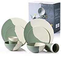 LEKOCH 8 Pieces Ink Painting Serie Bio Bamboo Dinnerware Set for 2
