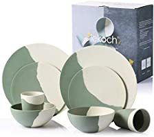 LEKOCH - Set di stoviglie in bambù biologico, 8 pezzi, per 2 persone - Colore: Verde e bianco