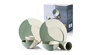 LEKOCH 8-teilige Bio Bambus Umweltfreundlich Camping Geschirr Set für Picknick/BBQ Grill/Fest/Camping/Party Set mit Teller, Salatteller, Suppenschüssel und Becher for 2 (Grün&Weiß)