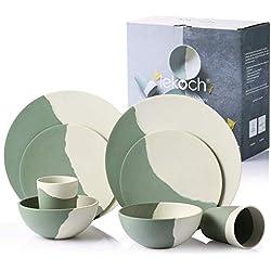LEKOCH - Juego de vajilla (8 Piezas, bambú, para 2 Personas, Color Verde y Blanco)