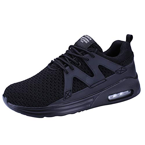 Dasongff Laufschuhe Herren,Turnschuhe Männer Schwarz,Low-Top Turnschuhe,Shock Absorbing Rutschfeste Sportschuhe Schnürer Running Shoes mit Luftpolster