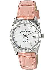 Reloj de las mujeres 3045PK de la madre de la perla de color rosa de tono de plata del color de rosa de la correa de cuero reloj de pulsera para mujer