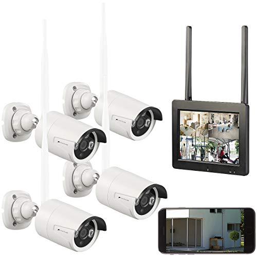 """VisorTech Überwachungssystem: Funk-Überwachungs-Set mit 7""""-Touchscreen-Monitor, 4 HD-Kameras & WLAN (Überwachungskamera mit Monitor)"""