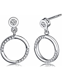 Fiona By Byond Beautiful 925 Sterling Silver AAA Cubic Zircon Daily Wear Dangle Earrings For Women And Girls