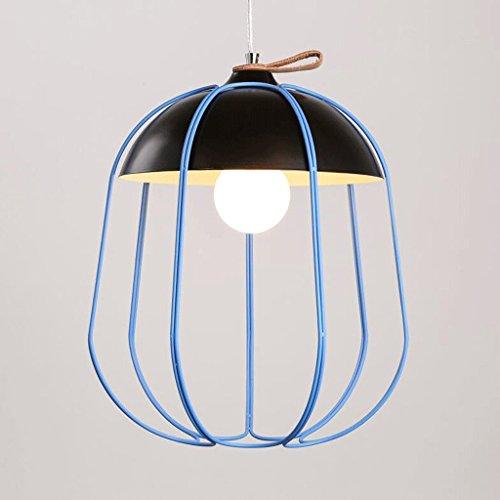 GAOLILI Invité Salle à Manger Chambre Chevet Lampes Moderne Minimaliste Créative Personnalité Fer Salon de Thé Chambre des Enfants Lustres E27 (Couleur : Bleu)