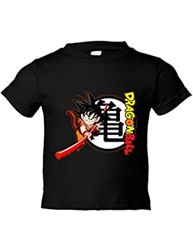 Camiseta niño Dragon Ball Son Goku bastón y logo