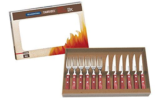 Tramontina 29899/221 Steakbesteck-Set, 12-teilig mit roten Griffen 2-fach vernietet