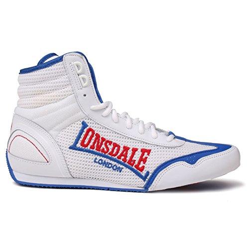 Lonsdale Herren Contender Boxschuhe Boxen Stiefel Sport Extra Leicht Schuhe Weiß/Blau 8 (42) (Spitzer Box)