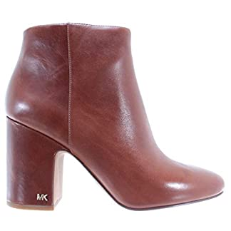 Michael Kors Women's Shoes Heel Ankle Boots Elaine Bootie Leather Dark Caramel