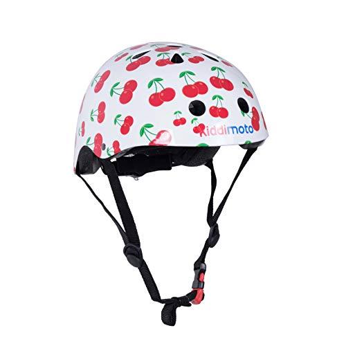 kiddimoto 2kmh026m - Design Sport Helm süße Kirschen Gr. M für Kopfumfang 53-58 cm, 5-12+ Jahre, cherry -