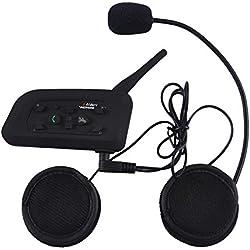 Docooler Intercom Sans Fil Moto Radio BT Talkie-walkie V6-1200 Imperméable à l'épreuve du Bruit Coupe-vent