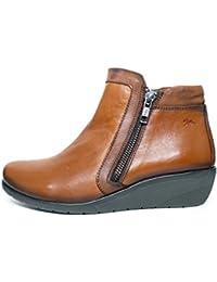 Botín cremallera/elástico muy cómodo Dorking-Fluchos - Piel disponible en colores Cuero y Negro - 9549 - 75