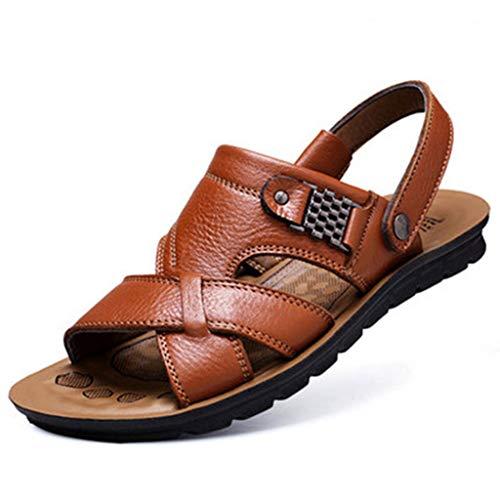 URIBAKY La Mode Respirante des Sandales de Plage en Cuir des Hommes Glisse des Pantoufles extérieures
