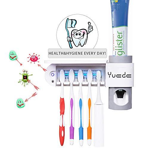 Yuede Automatisch Zahnpastaspender und Zahnbürstenhalter Set mit Wand Montiert Art UV-Desinfektion Sterilisation Maschine Zahnbürstenhalter Geeignet für alle Arten von Zahnbürsten -